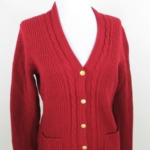 New Brooks Brothers Wool Red Cardigan Sweater M 10